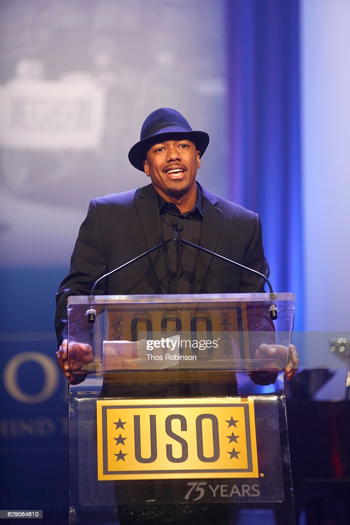 Nick Cannon speaks onstage the USO 75th Anniversary Armed Forces Gala & Gold Medal Dinner at Marriott Marquis Times Square on December 13, 2016 in New York City.