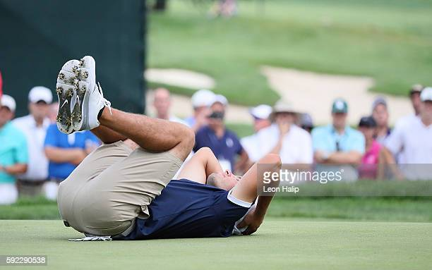 Nick Carlson from Hamilton Michigan reacts to missing a putt on the 21st hole during the match against Curtis Luck from Australia played on the South...
