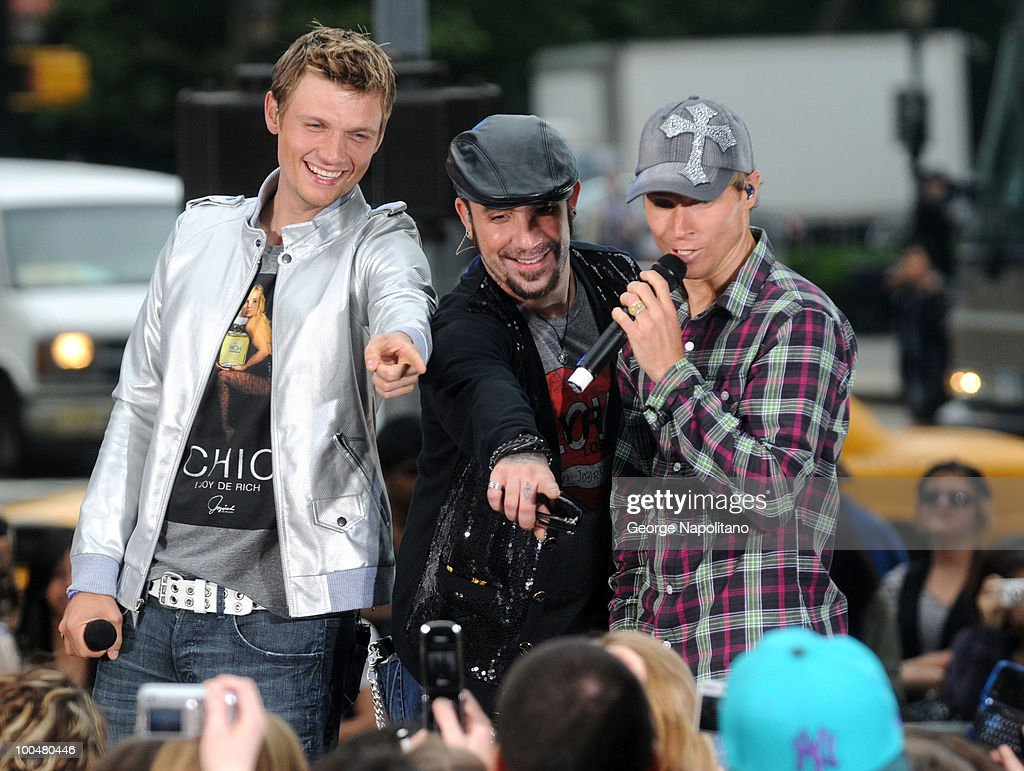 Nick Carter, A. J. McLean and Brian Littrell of the Backstreet Boys perform on CBS' The Early Show Summer Concert Series at the CBS Early Show Studio Plaza on May 24, 2010 in New York City.