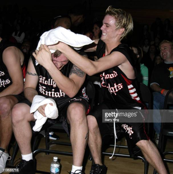 Nick Carter and Aaron Carter during Hollywood Knights Celebrity Basketball Team Plays Whittier High School January 22 2005 at Whittier High School in...