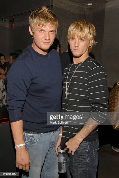 Nick Carter and Aaron Carter during Howie Dorough's Birthday Party at LAX in Hollywood California United States