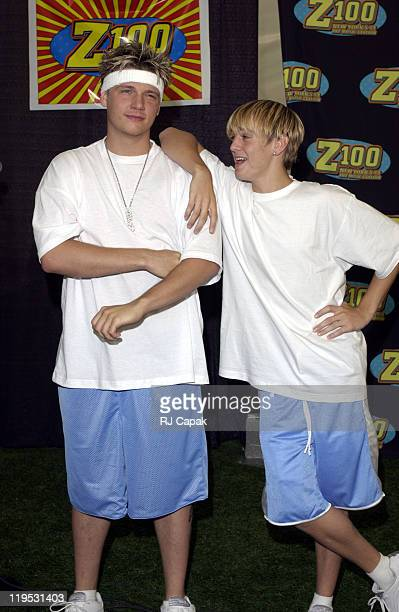 Nick Carter and Aaron Carter during Z100's Zootopia 2002 Press Room at Giants Stadium in East Rutherford New Jersey United States