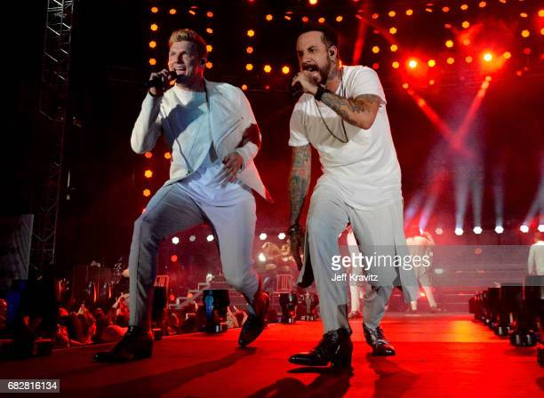 Nick Carter and AJ McLean of Backstreet Boys perform onstage during 1027 KIIS FM's 2017 Wango Tango at StubHub Center on May 13 2017 in Carson...