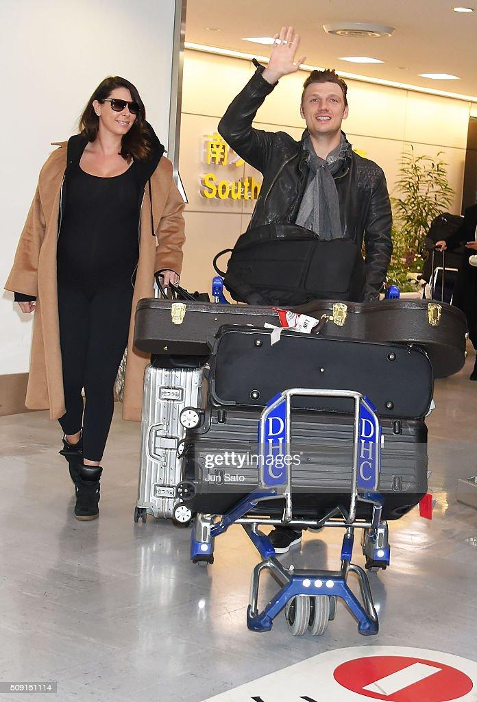 Nick Carter and wife Lauren Kitt Carter are seen upon arrival at Narita International Airport on February 9, 2016 in Narita, Japan.