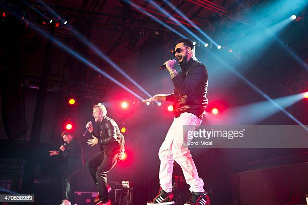 Nick Carter Brian Littrell and AJ McLean of Backstreet Boys perform on stage at Sant Jordi Club on February 20 2014 in Barcelona Spain
