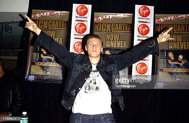 Nick Carter during Nick Carter Promoting his new CD 'Now Or Never' at the Virgin Records store at Times Square in New York City New York United States