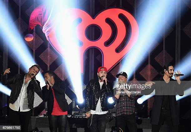 Nick Carter Howie Dorough AJ McLean Brian Littrell and Kevin Richardson of Backstreet Boys perform onstage during 1035 KISS FM's Jingle Ball 2016 at...