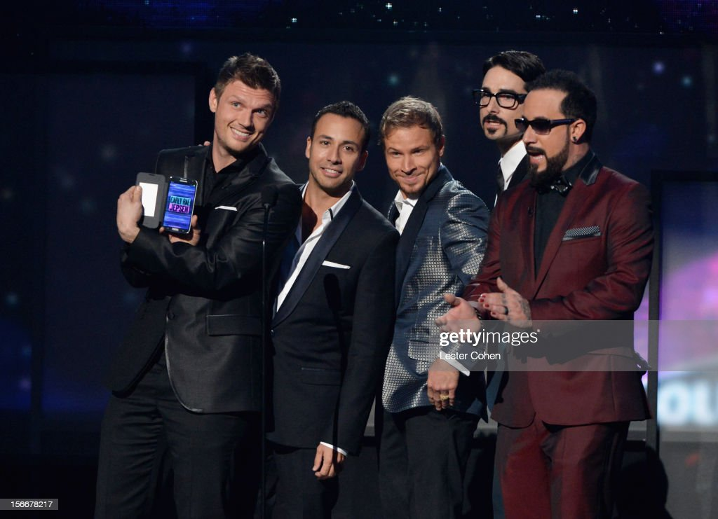 Nick Carter, Howie Dorough, Brian Littrell, Kevin Richardson and AJ McLean of Backstreet Boys onstage during the 40th Anniversary American Music Awards held at Nokia Theatre L.A. Live on November 18, 2012 in Los Angeles, California.