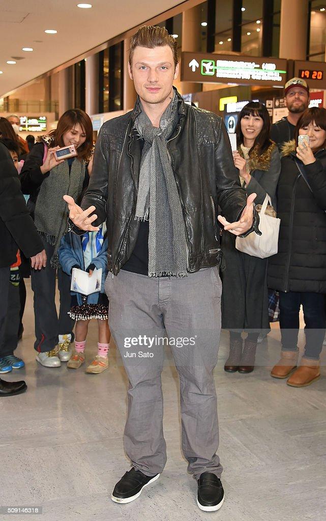 Nick Carter is seen upon arrival at Narita International Airport on February 9 2016 in Narita Japan