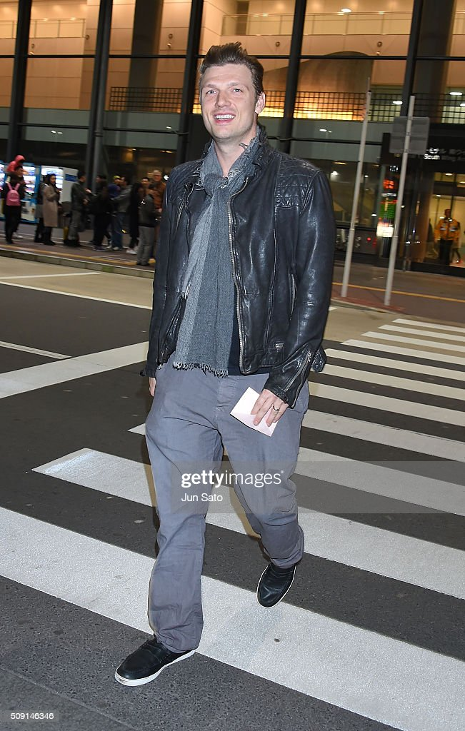 Nick Carter is seen upon arrival at Narita International Airport on February 9, 2016 in Narita, Japan.