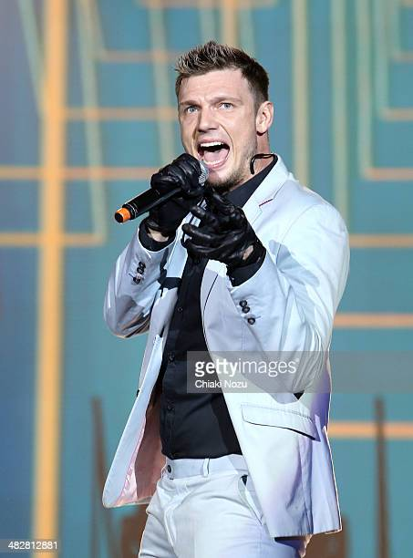 Nick Carter of Backstreet Boys performs at 02 Arena on April 4 2014 in London England