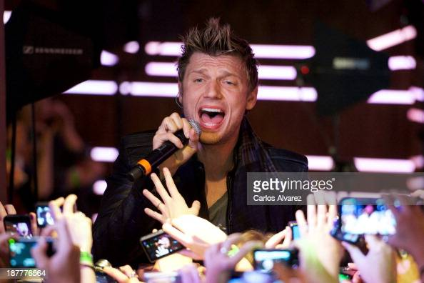 Nick Carter of Backstreet Boys performs on stage to promote his new album 'In A World Like This' at the 40 Cafe on November 12 2013 in Madrid Spain