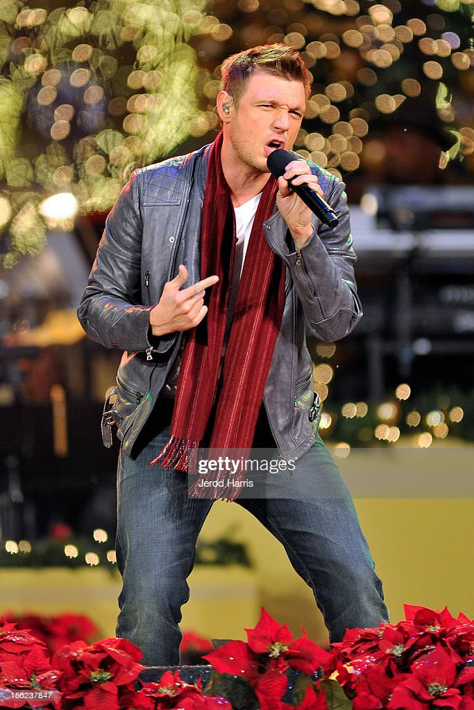 Nick Carter of the Backstreet Boys performs at A Hollywood Christmas Celebration at The Grove on November 11, 2012 in Los Angeles, California.