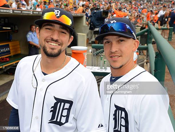 Nick Castellanos and Hernan Perez of the Detroit Tigers pose for a photo prior to the game against the Cleveland Indians at Comerica Park on...