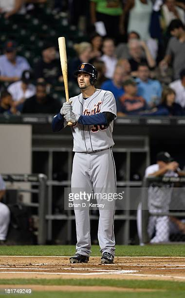 Nick Castellanos of the Detroit Tigers bats during the first inning against the Chicago White Sox at US Cellular Field on September 11 2013 in...