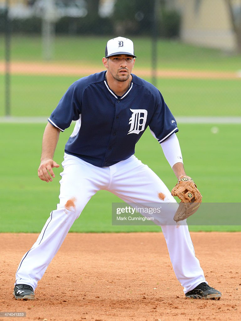<a gi-track='captionPersonalityLinkClicked' href=/galleries/search?phrase=Nick+Castellanos&family=editorial&specificpeople=6129175 ng-click='$event.stopPropagation()'>Nick Castellanos</a> #9 of the Detroit Tigers fields during the spring training workout day at the TigerTown complex on February 21, 2014 in Lakeland, Florida.