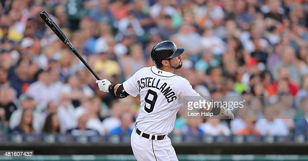 Nick Castellanos of the Detroit Tigers hits a grand slam home run scoring Ian Kinsler JD Martinez and Yoenis Cespedes during the third inning of the...