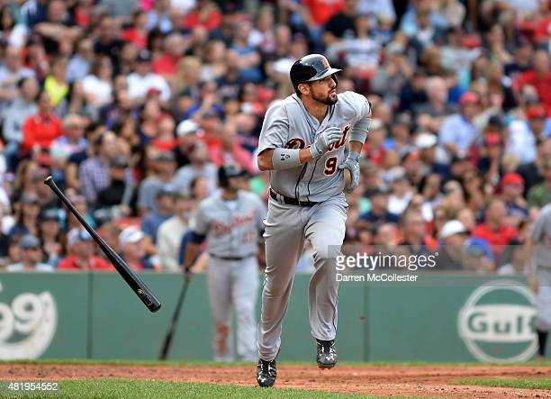 Nick Castellanos of the Detroit Tigers hits a ground rule double against the Boston Red Sox in the fourth inning at Fenway Park on July 25 2015 in...