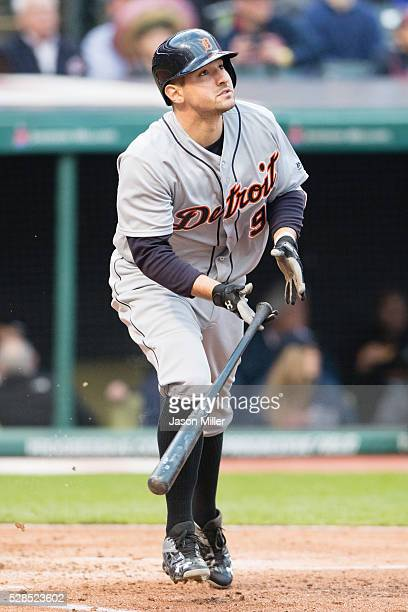 Nick Castellanos of the Detroit Tigers hits a three run home run during the fourth inning against the Cleveland Indians at Progressive Field on May 5...