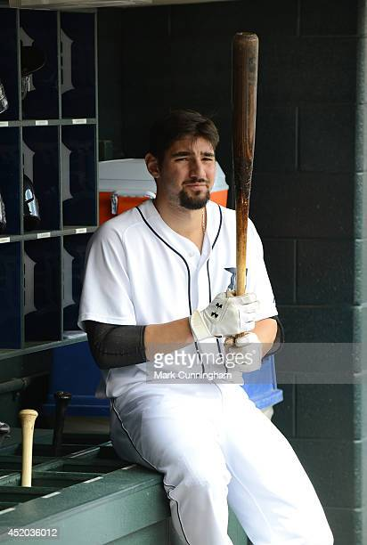 Nick Castellanos of the Detroit Tigers looks on from the dugout during the game against the Los Angeles Dodgers at Comerica Park on July 9 2014 in...