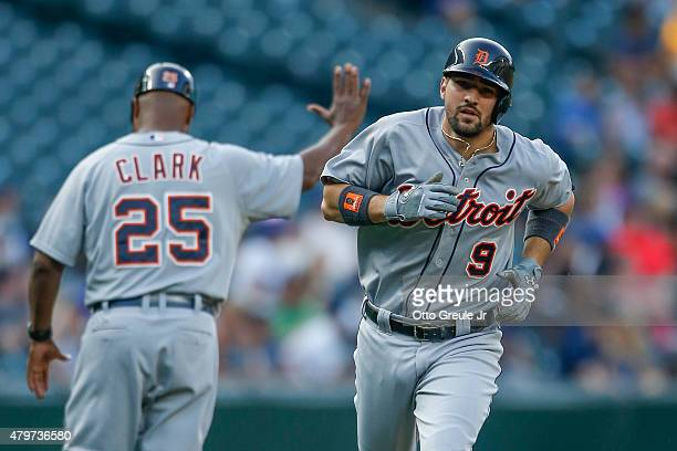 Nick Castellanos of the Detroit Tigers rounds the bases after hitting a home run in the second inning against the Seattle Mariners at Safeco Field on...