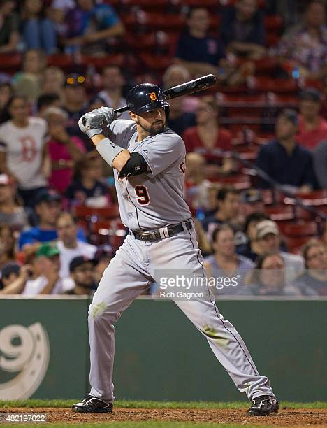 Nick Castellanos of the Detroit Tigers stands at home plate during the ninth inning against the Boston Red Sox at Fenway Park on July 26 2015 in...