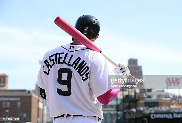 Nick Castellanos of the Detroit Tigers waits ondeck holding a pink baseball bat during the Mothers Day and breast cancer awareness game against the...