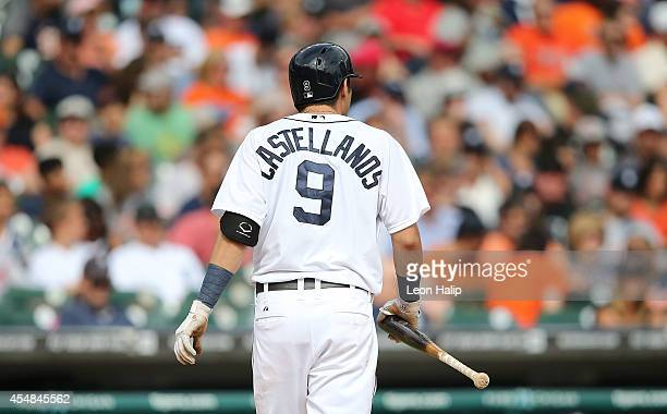 Nick Castellanos of the Detroit Tigers walks back to the dugout after striking out in the eighth inning of the game against the San Francisco Giants...