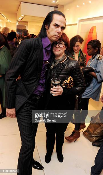Nick Cave and artist Polly Borland attend a private viewing of artist Polly Borland's new photography exhibition 'Smudge' on March 17 2011 in London...