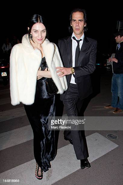 Nick Cave and his wife Susie Bick are sighted leaving the 'Baoli Beach' on May 19 2012 in Cannes France