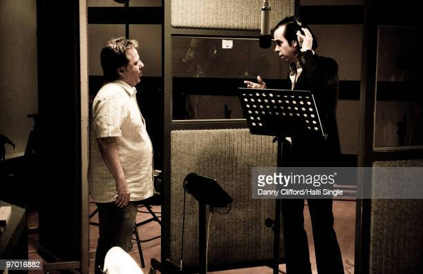 Nick Cave attends the recording of a charity single for Haiti recorded at Sphere Studios in Battersea on February 4 2010 in London England The Pogues...