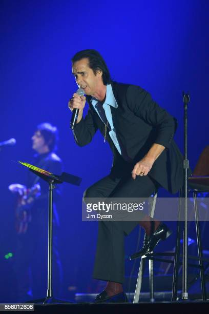 Nick Cave performs live on stage with the Bad Seeds at the O2 Arena on September 30 2017 in London England