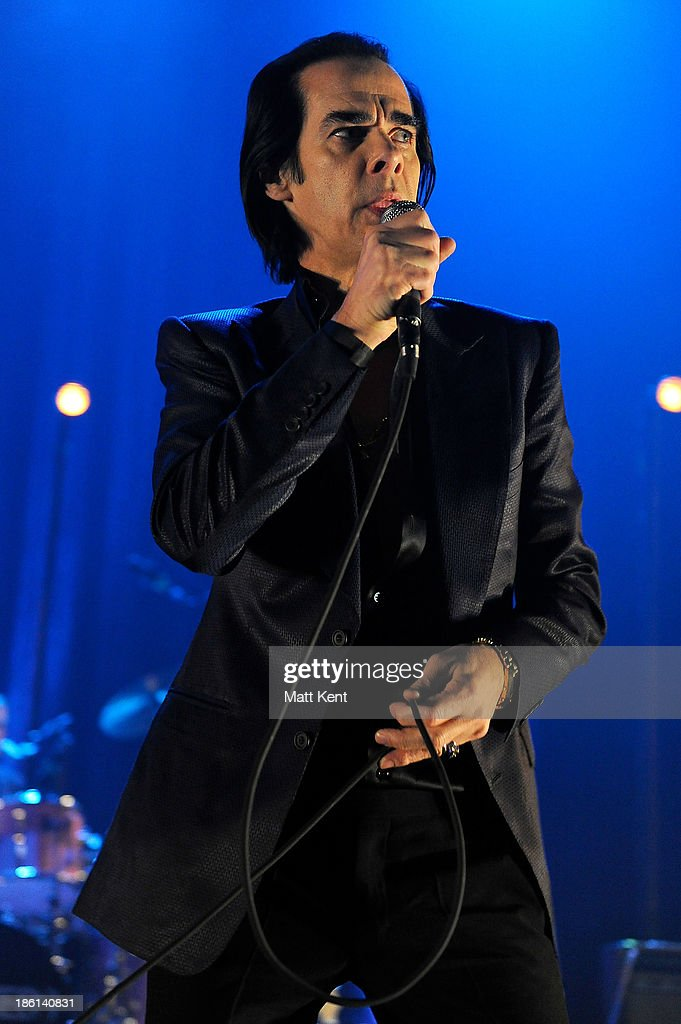 Nick Cave performs with The Bad Seeds at Hammersmith Apollo on October 28, 2013 in London, England.