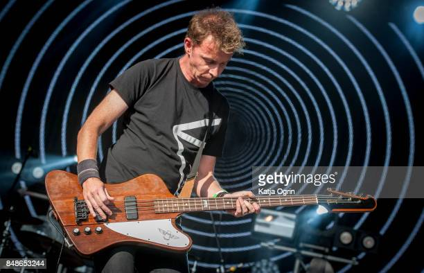 Nick Chaplin of Slowdive performing on stage at Beyond The Tracks Festival on September 17 2017 in Birmingham England
