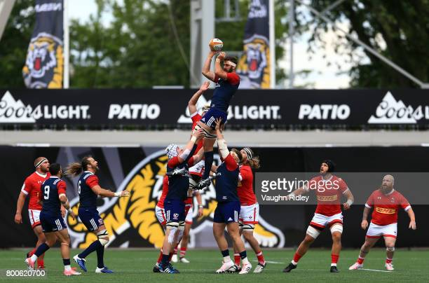 Nick Civetta of the USA wins a line out in the first half of a Rugby World Cup 2019 Qualifier match against Canada at Tim Hortons Field on June 24...