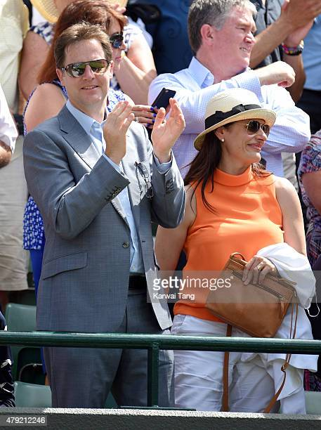 Nick Clegg and Miriam Gonzalez Durantez attend the Robin Hasse v Andy Murray match on day four of the Wimbledon Tennis Championships at Wimbledon on...