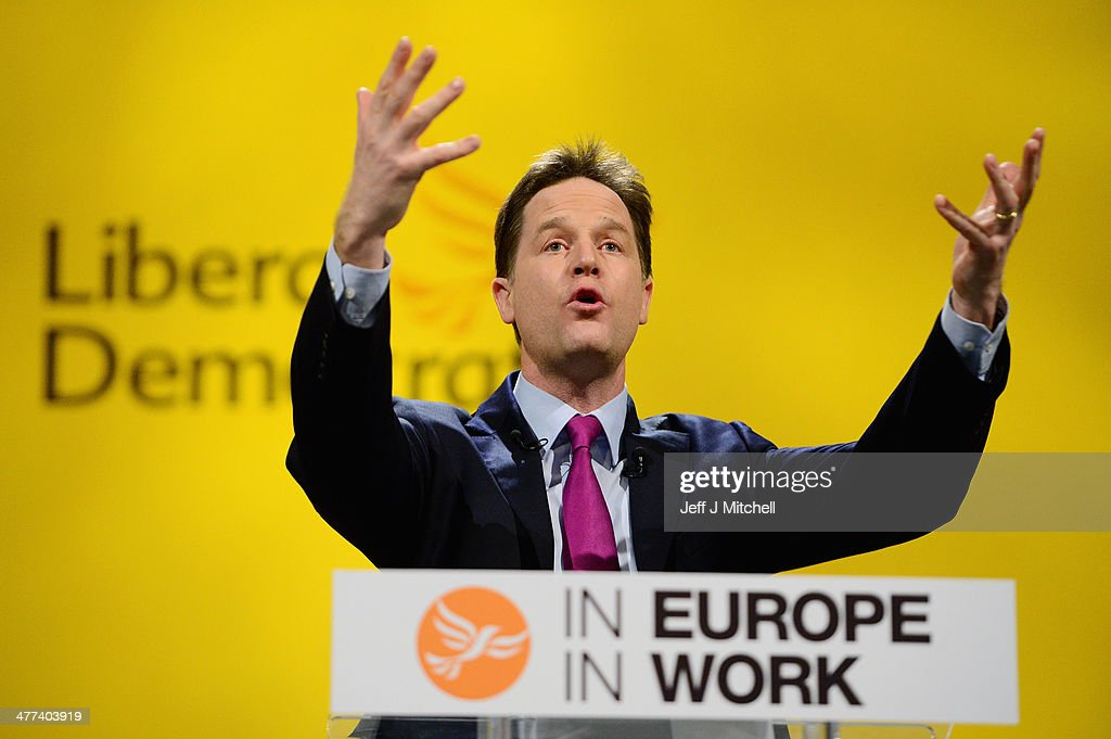 Nick Clegg deputy prime minister and leader of the Liberal Democrats gives his key note address to the party spring conference on March 9, 2014 in York, England. Nick Clegg and his Liberal Democrats have gathered for their spring conference in York under the imaginary banner claiming we're not the Tories or Labour and we're definitely not Ukip.