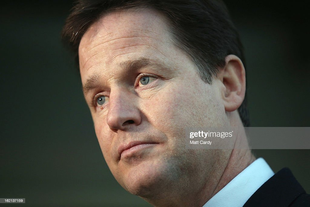 Nick Clegg Deputy Prime Minister and Liberal Democrat leader waits to do a television interview on February 19 2013 in Eastleigh Hampshire A...