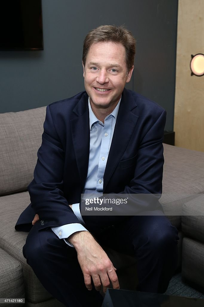 <a gi-track='captionPersonalityLinkClicked' href=/galleries/search?phrase=Nick+Clegg&family=editorial&specificpeople=579276 ng-click='$event.stopPropagation()'>Nick Clegg</a> interview with Angie Greaves for Bauer City Network on April 28, 2015 in London, England.