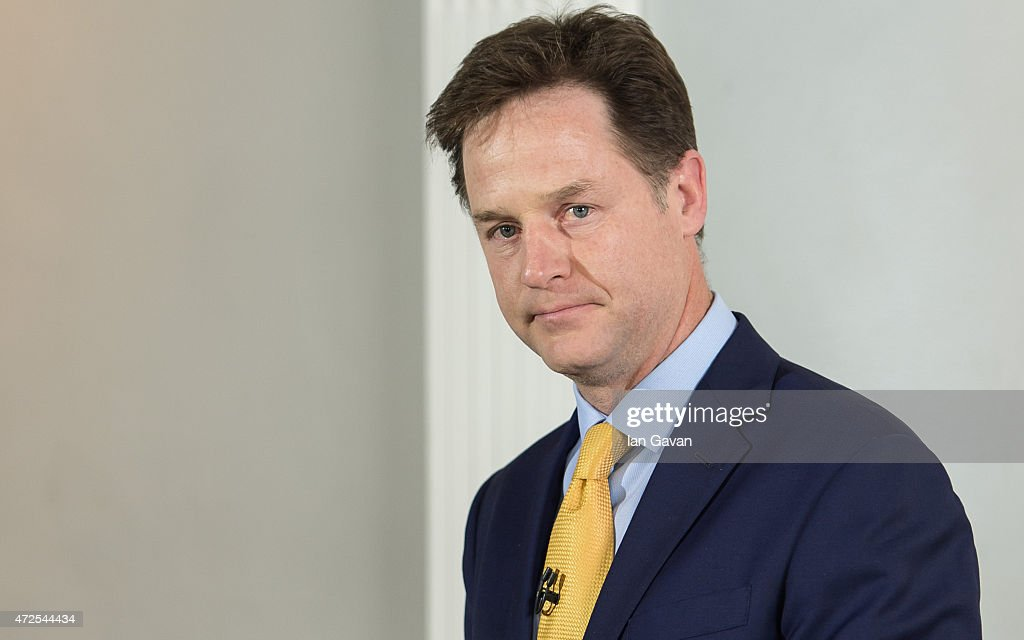 <a gi-track='captionPersonalityLinkClicked' href=/galleries/search?phrase=Nick+Clegg&family=editorial&specificpeople=579276 ng-click='$event.stopPropagation()'>Nick Clegg</a>, Leader of the Liberal Democrats delivers a statement of his resignation at the ICA on May 8, 2015 in London, England. After the United Kingdom went to the polls yesterday the Conservative party are confirmed as the winners of a closely fought general election which has returned David Cameron as Prime Minister with a slender majority for his party.