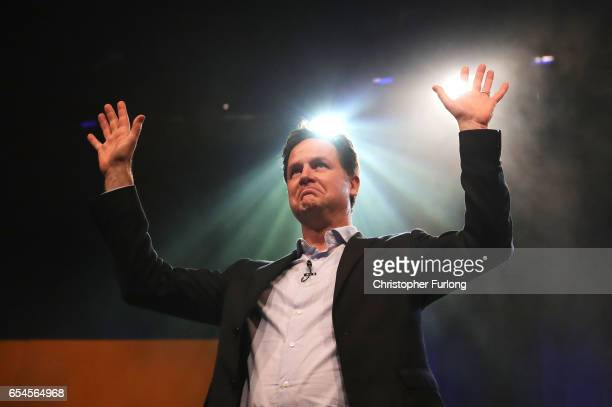 Nick Clegg MP addresses delegates during a rally on the first day of the Liberal Democrats spring conference at York Barbican on March 17 2017 in...