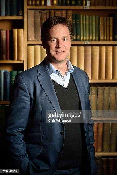 Nick Clegg Poses for a portrait at the Cambridge Union on April 27 2016 in Cambridge Cambridgeshire Nick Clegg has been the MP for Sheffield Hallam...