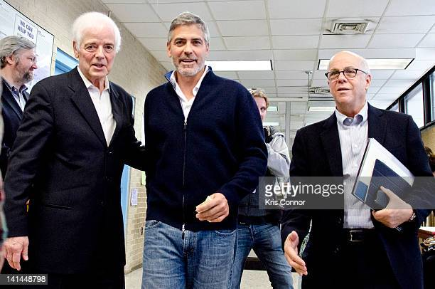Nick Clooney and George Clooney leave the 2nd precinct to speak with the media following their arrest during a protest against Sudan's Food Blockade...