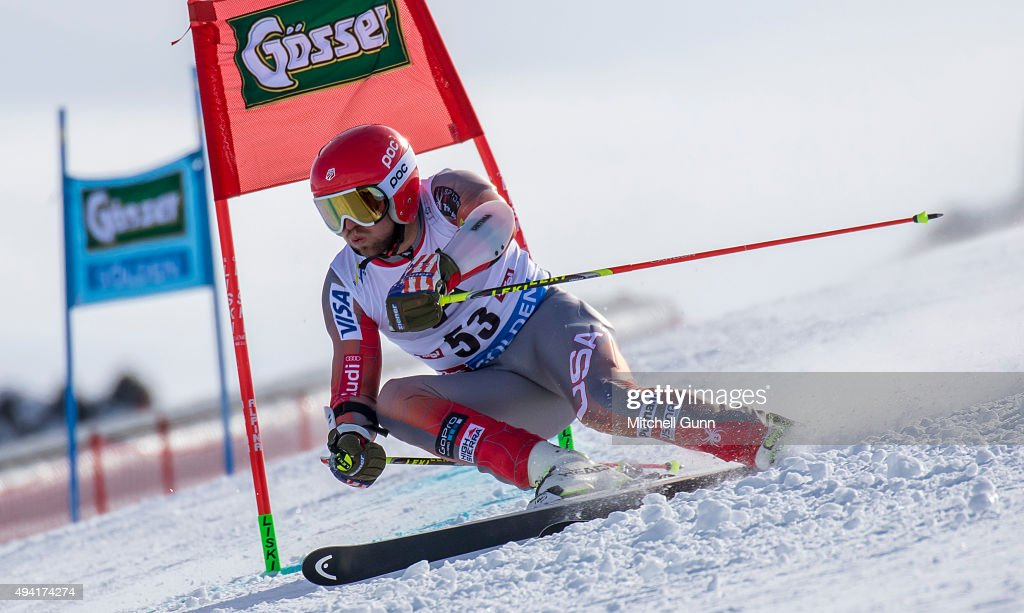 Nick Cohee of The USA during the Audi FIS Ski World Cup men's giant slalom race on the Rettenbach Glacier on 25 October 2015 in Soelden Austria