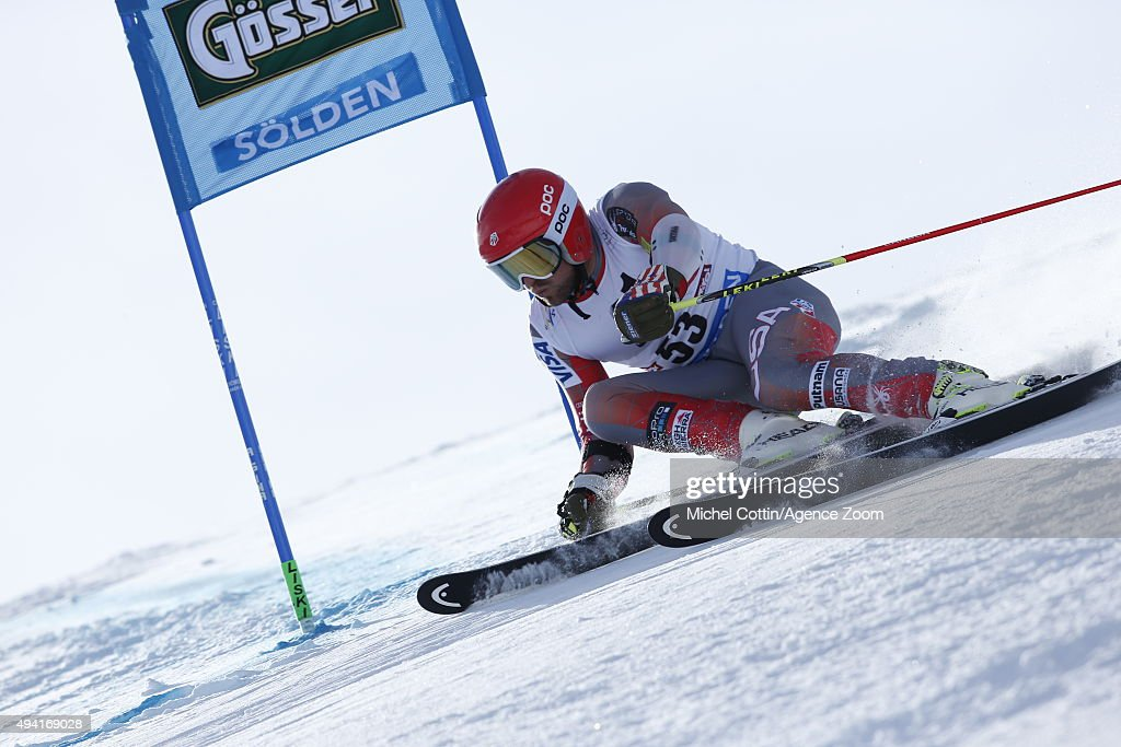 Nick Cohee of the USA in action during the Audi FIS Alpine Ski World Cup Men's Giant Slalom on October 25 2015 in Soelden Austria