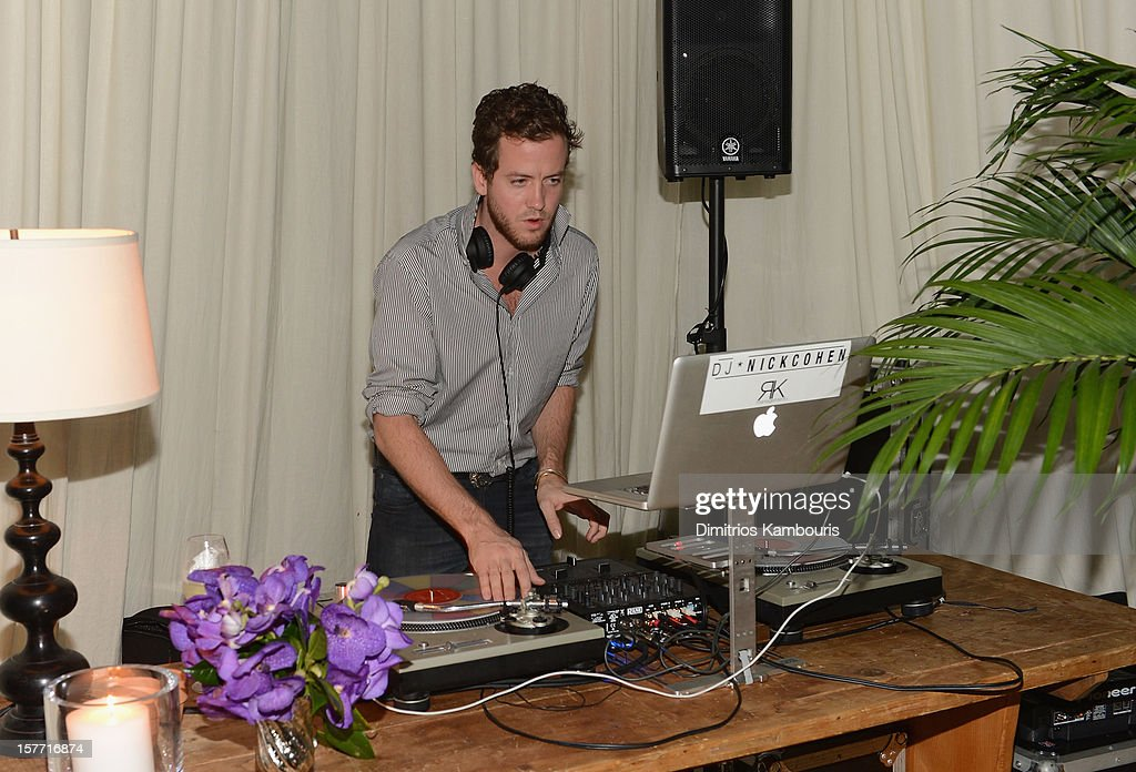 DJ Nick Cohen spins at a Beachside Barbecue presented by CHANEL hosted by Art.sy Founder Carter Cleveland, Larry Gagosian, Wendi Murdoch, Peter Thiel and Dasha Zhukova at Soho Beach House on December 5, 2012 in Miami Beach, Florida.