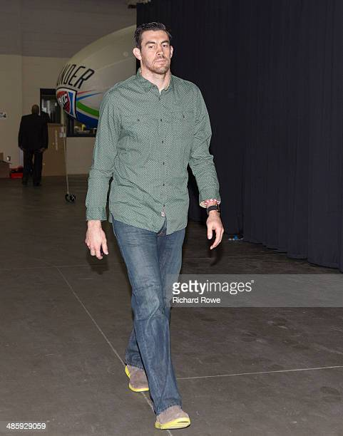 Nick Collison of the Oklahoma City Thunder arrives before Game One of the Western Conference Quarterfinals against the Memphis Grizzlies in the NBA...