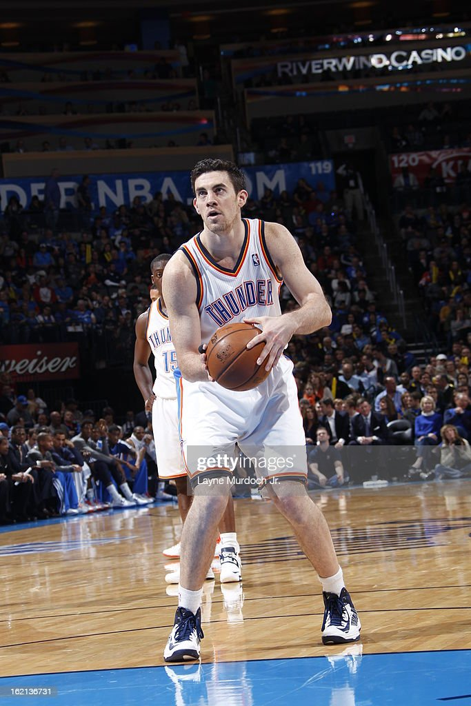 <a gi-track='captionPersonalityLinkClicked' href=/galleries/search?phrase=Nick+Collison&family=editorial&specificpeople=202843 ng-click='$event.stopPropagation()'>Nick Collison</a> #4 of the Oklahoma City Thunder attempts a foul shot against the Memphis Grizzlies on January 31, 2013 at the Chesapeake Energy Arena in Oklahoma City, Oklahoma.