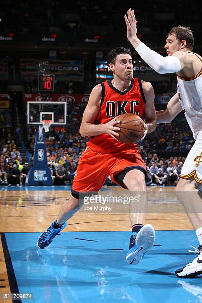 Nick Collison of the Oklahoma City Thunder drives to the basket against the Cleveland Cavaliers on February 21 2016 at Chesapeake Energy Arena in...
