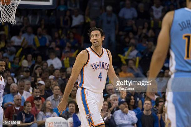 Nick Collison of the Oklahoma City Thunder during the second quarter of a NBA preseason game against the Denver Nuggets at the Chesapeake Energy...